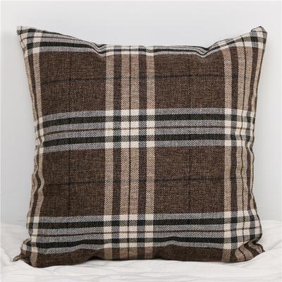 2019新款英伦风格棉麻格子条纹抱枕 50X50cm(单独芯) 深咖大格