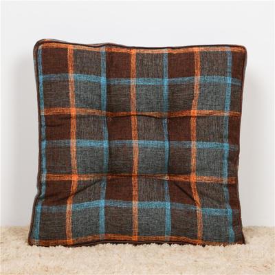 2019新款滚边棉麻格纹坐垫四季可用 45x45cm 棕色-格纹