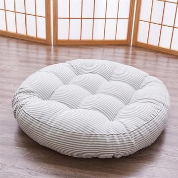 2019新款日式风格圆形条纹棉麻坐垫餐椅垫子
