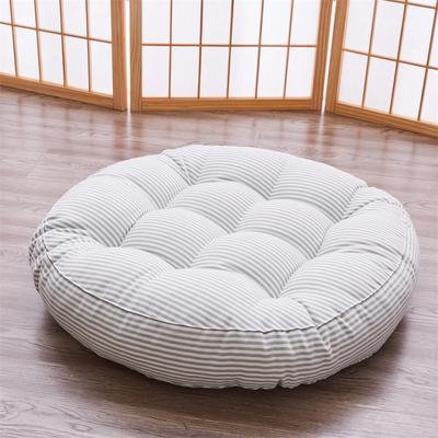 2019新款日式风格圆形条纹棉麻坐垫餐椅垫子 40X40cm(厚度6-8cm) 绿色条纹(圆形)