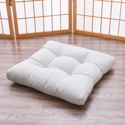 2019新款日式条纹棉麻方形坐垫餐椅垫 45x45cm(厚度8-10cm) 绿色条纹(方凳款)