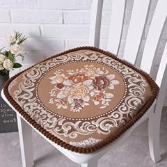 欧式餐椅垫毛绒通用椅子垫椅垫座垫可拆洗有绑带坐垫 大号(48*48cm) 国色天香咖