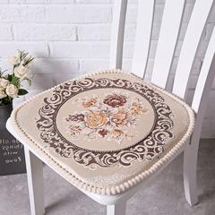 欧式餐椅垫毛绒通用椅子垫椅垫座垫可拆洗有绑带坐垫 大号(48*48cm) 米白咖色花