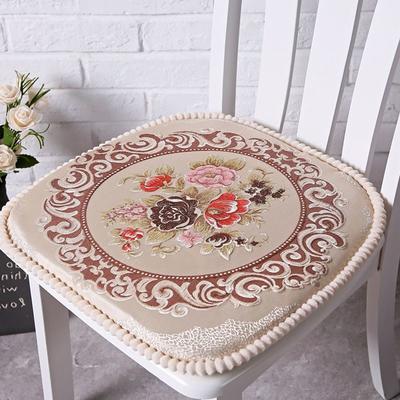 欧式餐椅垫毛绒通用椅子垫椅垫座垫可拆洗有绑带坐垫 大号(48*48cm) 米白红色花