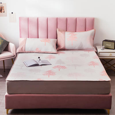 2020 提花冰絲三件套涼席空調軟涼席床笠款 冰感絲藤席 1.5m(5英尺)床 春意盎然