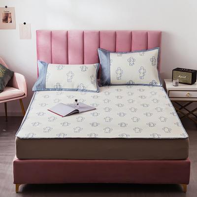 2020 提花冰絲三件套涼席空調軟涼席床笠款 冰感絲藤席 1.5m(5英尺)床 可愛寶寶