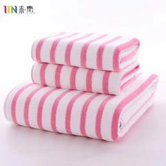 2018新款超细纤维彩条毛巾浴巾 粉色(毛巾35*75)