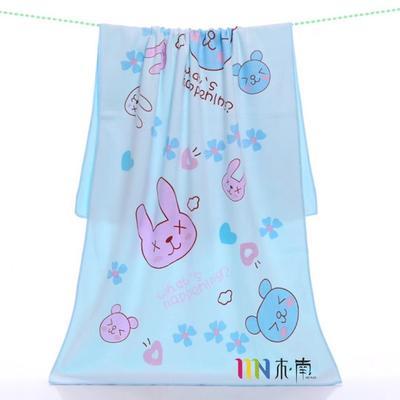 2019新款多版超纤维卡通图案浴巾(70 *140) 蓝色兔子