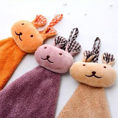 2019新款珊瑚绒兔头擦手巾(30*30) 咖色