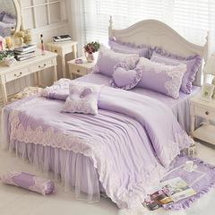 2019新品夹棉:绗缝宽边系列莫代尔夹棉绗缝可妮床罩款四件套 心形枕 可妮紫