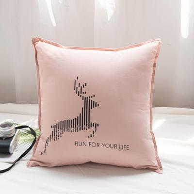 2019新款全棉系列抱枕 45x45cm 麋鹿粉