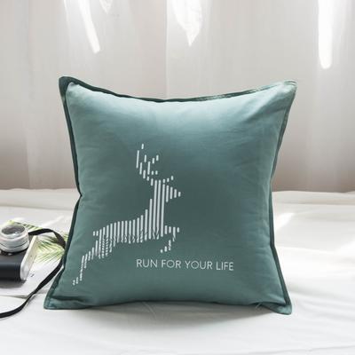 2019新款全棉系列抱枕 45x45cm 麋鹿绿