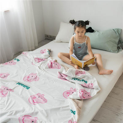 2019新款ins卡通兔兔绒多功能毯子(被套) 100*150cm 佩佩小猪