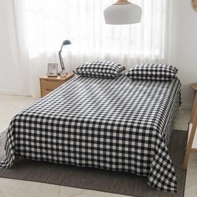 2019新品-全棉色织水洗棉床单 160*240 黑小格