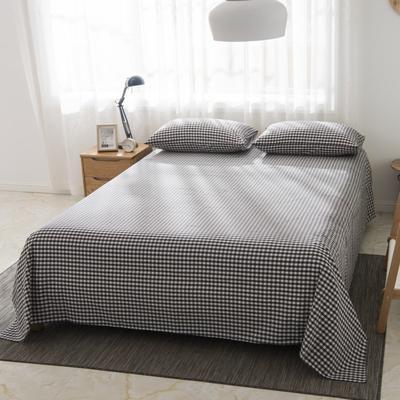 2019新品-全棉色织水洗棉床单 160*240 黑中格
