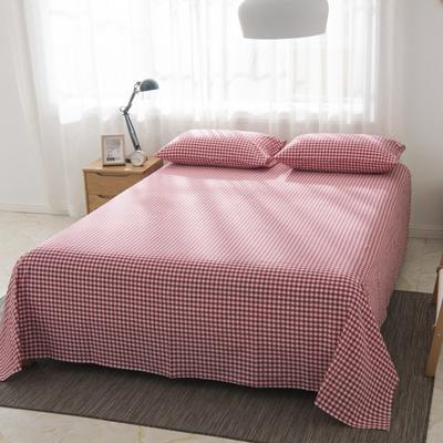 2019新品-全棉色织水洗棉床单 160*240 红小格