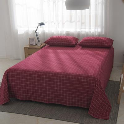 2019新品-全棉色织水洗棉床单 160*240 红中格