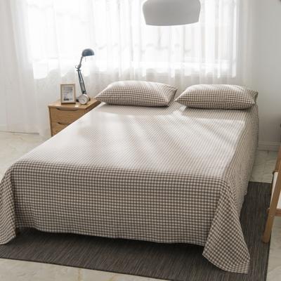 2019新品-全棉色织水洗棉床单 160*240 咖啡小格