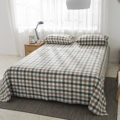 2019新品-全棉色织水洗棉床单 160*240 咖蓝中格