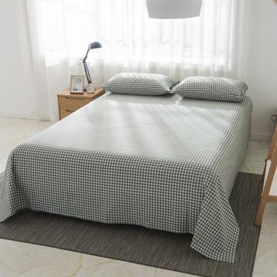 2019新品-全棉色织水洗棉床单 160*240 咖绿小格