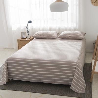 2019新品-全棉色织水洗棉床单 160*240 咖条纹