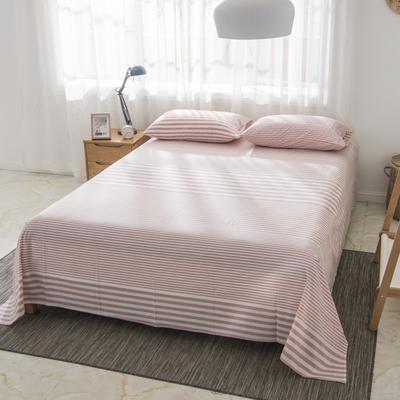 2019新品-全棉色织水洗棉床单 160*240 浅粉细条