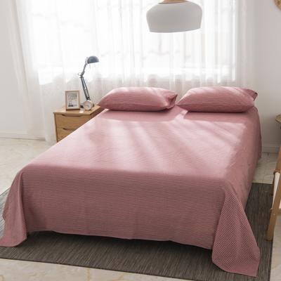 2019新品-全棉色织水洗棉床单 160*240 浅红细条
