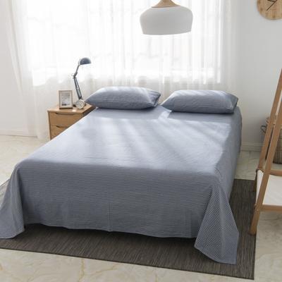 2019新品-全棉色织水洗棉床单 160*240 浅蓝细条纹