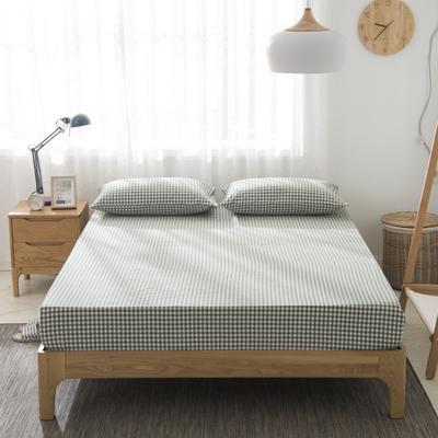 2019新品-全棉色织水洗棉床笠 90*200 咖绿小格