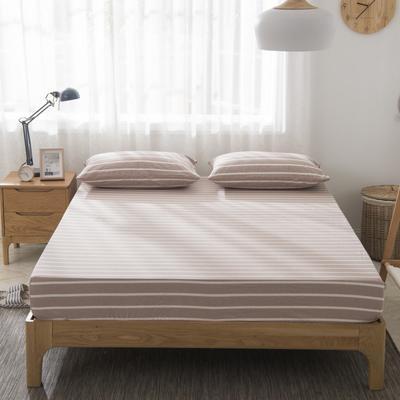 2019新品-全棉色织水洗棉床笠 90*200 咖条纹