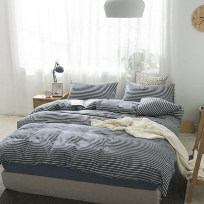 2019新品-全棉色织水洗棉被套 150*200 深蓝中条