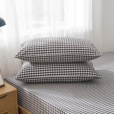 2019新品-全棉色织水洗棉枕套 48cmx74cm / 一只 黑小格