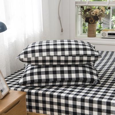 2019新品-全棉色织水洗棉枕套 48cmx74cm / 一只 黑中格