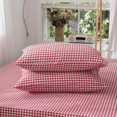 2019新品-全棉色织水洗棉枕套 48cmx74cm / 一只 红小格