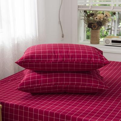 2019新品-全棉色织水洗棉枕套 48cmx74cm / 一只 红中格