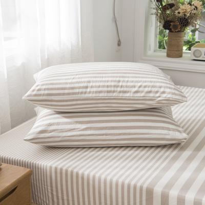 2019新品-全棉色织水洗棉枕套 48cmx74cm / 一只 咖啡灰