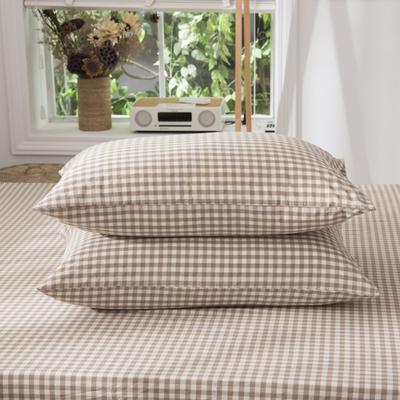 2019新品-全棉色织水洗棉枕套 48cmx74cm / 一只 咖啡小格