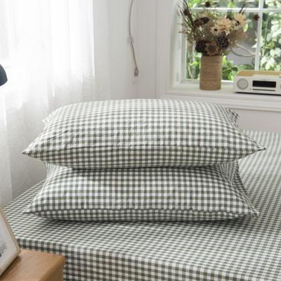2019新品-全棉色织水洗棉枕套 48cmx74cm / 一只 咖绿小格