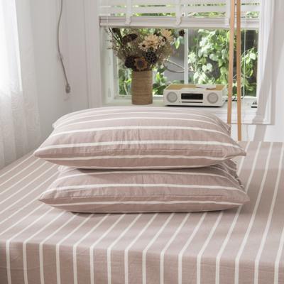 2019新品-全棉色织水洗棉枕套 48cmx74cm / 一只 咖条纹