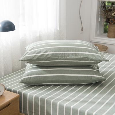 2019新品-全棉色织水洗棉枕套 48cmx74cm / 一只 绿中条