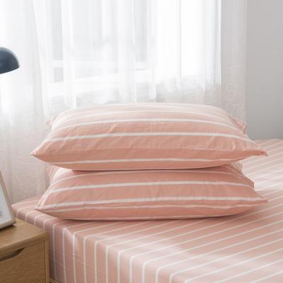 2019新品-全棉色织水洗棉枕套 48cmx74cm / 一只 嫩粉中条