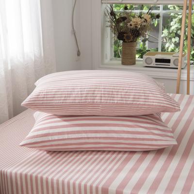2019新品-全棉色织水洗棉枕套 48cmx74cm / 一只 浅粉细条