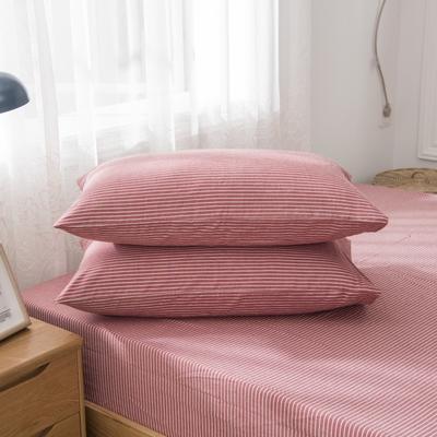2019新品-全棉色织水洗棉枕套 48cmx74cm / 一只 浅红细条