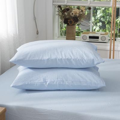 2019新品-全棉色织水洗棉枕套 48cmx74cm / 一只 浅蓝