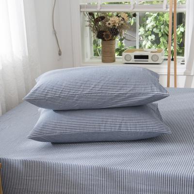 2019新品-全棉色织水洗棉枕套 48cmx74cm / 一只 浅蓝细条纹