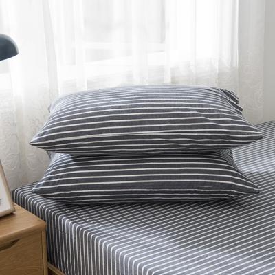 2019新品-全棉色织水洗棉枕套 48cmx74cm / 一只 深蓝中条