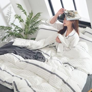 2019新品-全棉色织四件套 1.2m(4英尺)床单款 素岩
