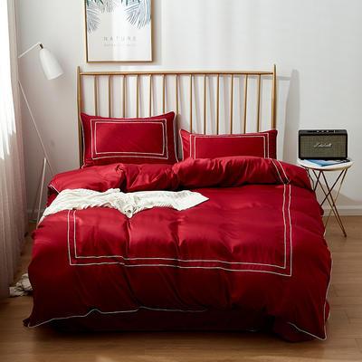 2019新款双面110g水洗真丝框框款四件套(电子图) 1.8m(6英尺)床 酒红