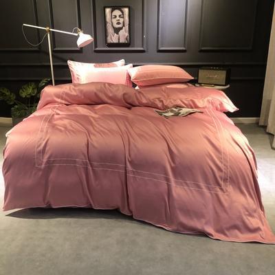 2019新款双面110g水洗真丝框框款四件套(实拍) 1.8m(6英尺)床 浅豆沙