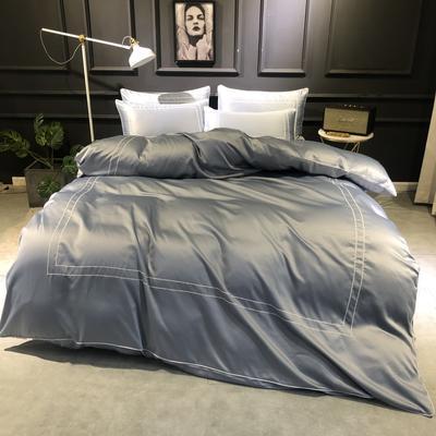 2019新款双面110g水洗真丝框框款四件套(实拍) 1.8m(6英尺)床 炫彩银
